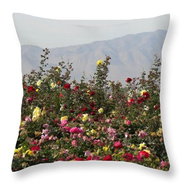 Throw Pillow featuring the photograph Field Of Roses by Laurel Powell