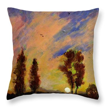Field Of Sunrises Throw Pillow by Charlie Spear