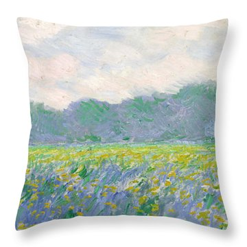 Field Of Yellow Irises At Giverny Throw Pillow