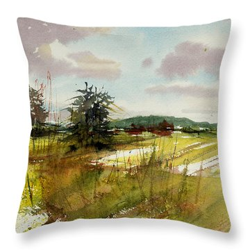 Field On The Lane Throw Pillow by Judith Levins