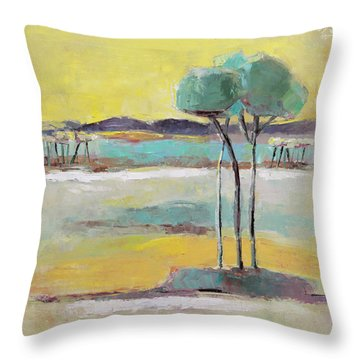Standing In Distance Throw Pillow by Becky Kim