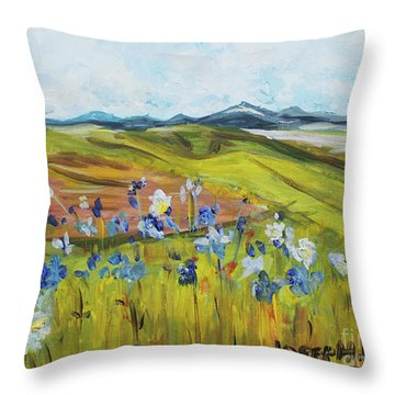 Field With Flowers Throw Pillow