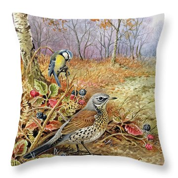 Fieldfare And Blue Tit Throw Pillow