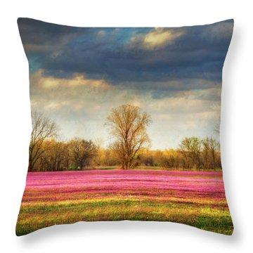 Fields Of Clover Throw Pillow by James Barber