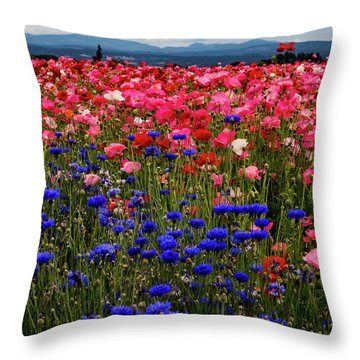 Fields Of Flowers Throw Pillow