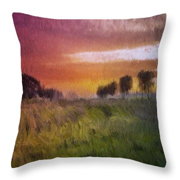 Throw Pillow featuring the painting Fields Of Green by Mark Taylor