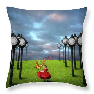 Throw Pillow featuring the digital art Fields Of Time by Nathan Wright