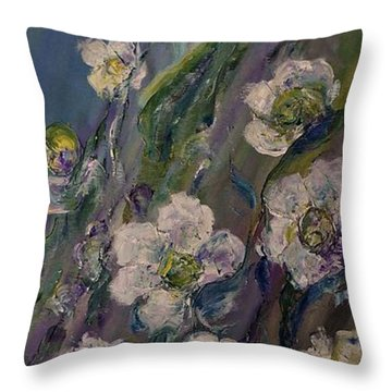 Throw Pillow featuring the painting Fields Of White Flowers by AmaS Art