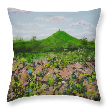 Fields To Glastonbury Tor Throw Pillow