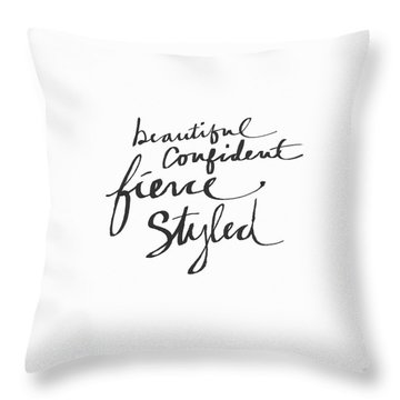 Fierce And Styled Black- Art By Linda Woods Throw Pillow