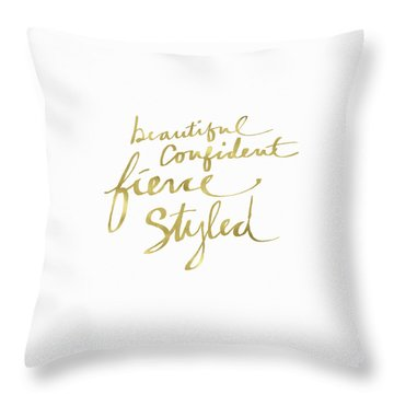 Fierce And Styled Gold- Art By Linda Woods Throw Pillow
