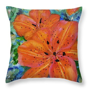 Throw Pillow featuring the painting Fierce Tiger by Judith Rhue