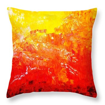 Throw Pillow featuring the painting Fierry Horses by Piety Dsilva