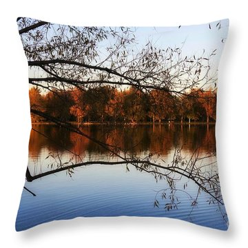 Fiery Colors On The Lake Throw Pillow