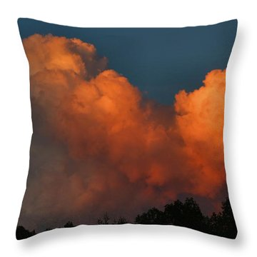 Fiery Cumulus Throw Pillow by Kathryn Meyer