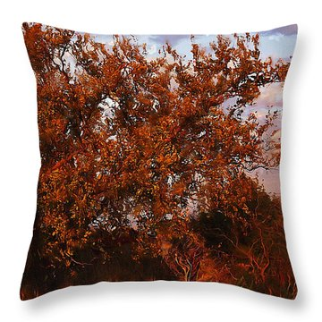 Fiery Elm Tree  Throw Pillow