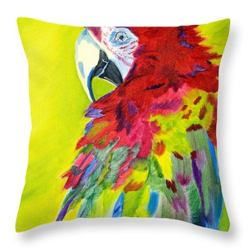 Fiery Feathers Throw Pillow by Meryl Goudey