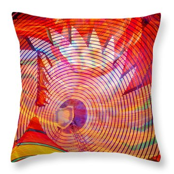 Throw Pillow featuring the photograph Fiery Ferris Wheel by David Lee Thompson