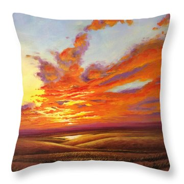 Throw Pillow featuring the painting Fiery Flint Hills Sky by Rod Seel