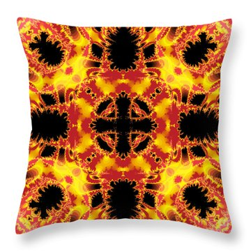 Fiery Fractal Throw Pillow