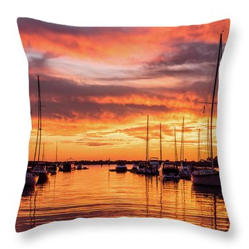 Fiery Lake Norman Sunset Throw Pillow