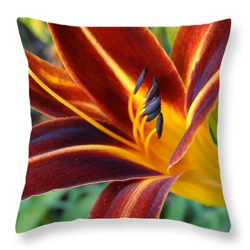 Fiery Lilies In Bloom Throw Pillow