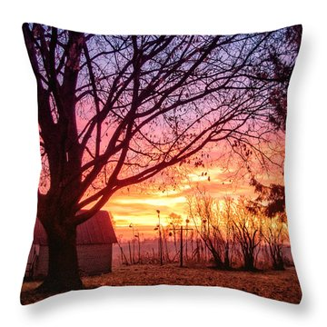 Throw Pillow featuring the photograph Fiery Morning Sunrise by Lars Lentz