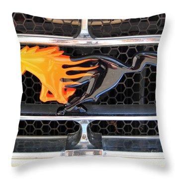 Fiery Mustang Throw Pillow