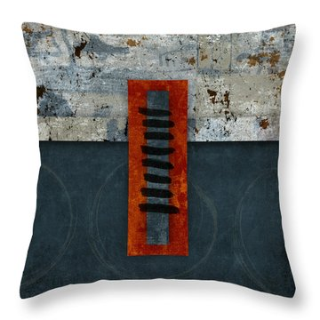 Fiery Red And Indigo One Of Two Throw Pillow by Carol Leigh