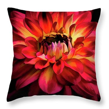 Throw Pillow featuring the photograph Fiery Red Dahlia by Julie Palencia