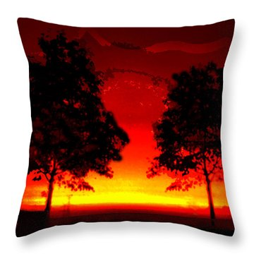 Fiery Sundown Throw Pillow