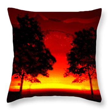 Fiery Sundown Throw Pillow