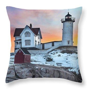 Fiery Sunrise At Cape Neddick Lighthouse Throw Pillow