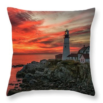 Fiery Sunrise At Portland Head Light Throw Pillow