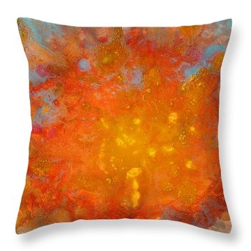 Fiery Sunset Abstract Painting Throw Pillow