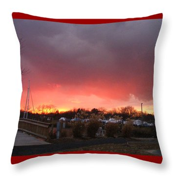 Fiery Sunset At The Marina Throw Pillow by Margie Avellino