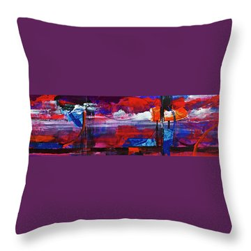 Throw Pillow featuring the painting Fiery Sunset Before The Storm. by Walter Fahmy