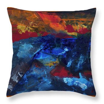 Throw Pillow featuring the painting Fiery Sunset No 2 by Walter Fahmy