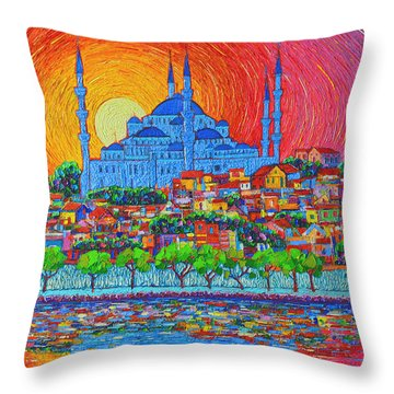 Fiery Sunset Over Blue Mosque Hagia Sophia In Istanbul Turkey Throw Pillow
