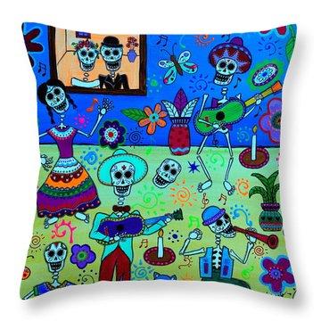 Throw Pillow featuring the painting Fiesta Calaveras IIi by Pristine Cartera Turkus