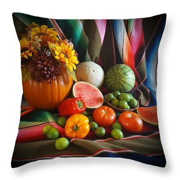 Throw Pillow featuring the painting Fiesta Fall Harvest by Marilyn Smith