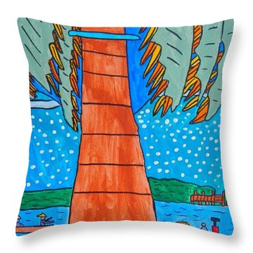 Throw Pillow featuring the painting Fiesta.boatride by Artists With Autism Inc