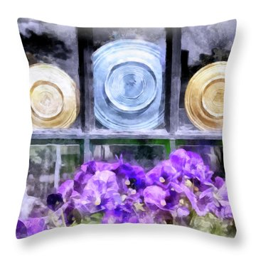 Fiestaware Window Display With Pansies Throw Pillow