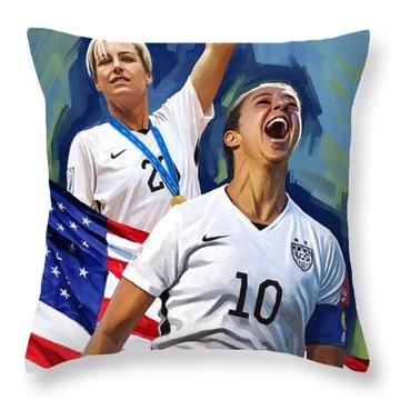 Throw Pillow featuring the painting Fifa World Cup U.s Women Soccer Carli Lloyd Abby Wambach Artwork by Sheraz A