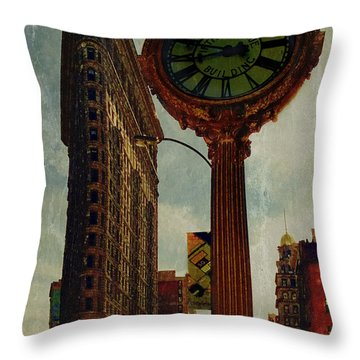 Fifth Avenue Clock And The Flatiron Building Throw Pillow by Chris Lord