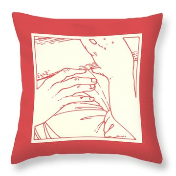 Throw Pillow featuring the drawing Fifth Station- Simon Of Cyrene Helps Jesus To Carry His Cross  by William Hart McNichols