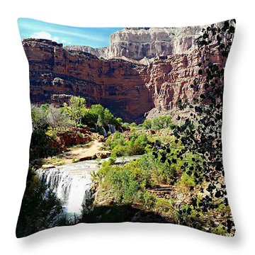 Fifty Falls And Havasupai Falls Havasupai Indian Reservation Throw Pillow