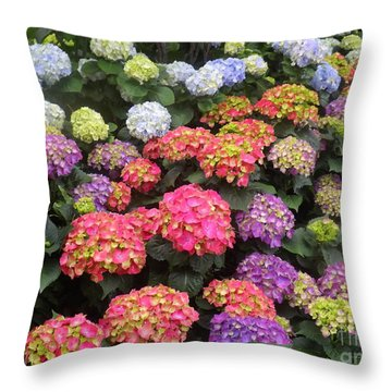 Fifty Shades Of Hydrangea Throw Pillow by Lingfai Leung