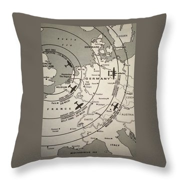 Fighter Escort And Bomber Ranges European Theatre Ww2 Throw Pillow