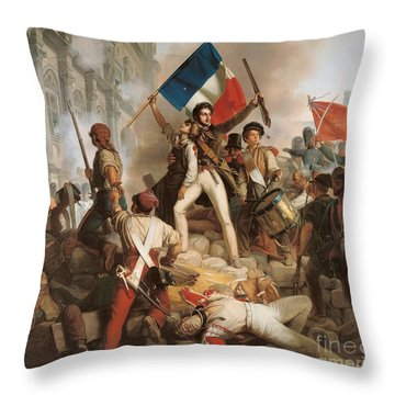 Fighting At The Hotel De Ville Throw Pillow by Jean Victor Schnetz